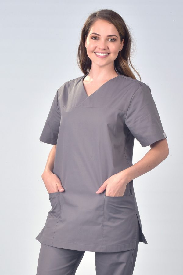 Grey Samoa Short Sleeve Scrub Tunic Top